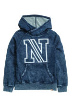 Hooded top with a washed look - Dark denim blue - Kids | H&M CN 2
