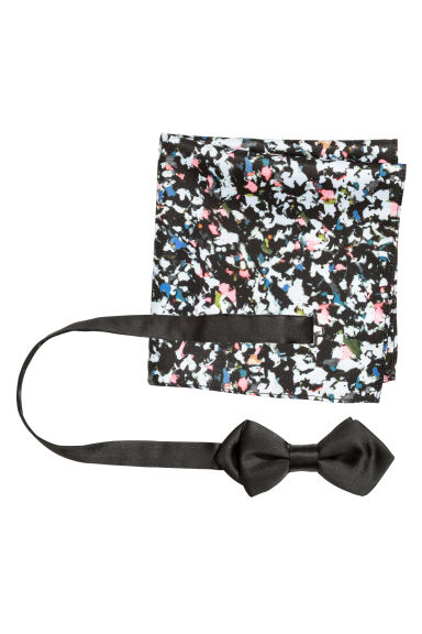 Bow tie and handkerchief - Black/Patterned - Men | H&M CN 1