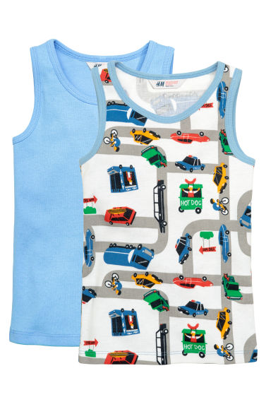 2-pack vest tops - White/Cars - Kids | H&M CN 1