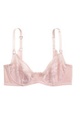 Mesh and lace underwired bra - Powder pink - Ladies | H&M CN 2