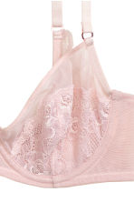 Mesh and lace underwired bra - Powder pink - Ladies | H&M CN 4