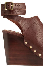 Wedge-heel leather sandals - Dark brown/Patterned - Ladies | H&M CN 4