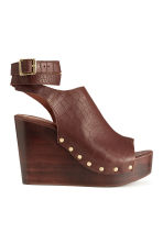 Wedge-heel leather sandals - Dark brown/Patterned - Ladies | H&M CN 1