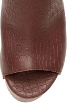 Wedge-heel leather sandals - Dark brown/Patterned - Ladies | H&M CN 3