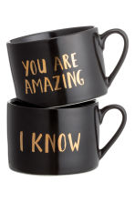 Lot de 2 mugs en porcelaine - Noir - Home All | H&M FR 2