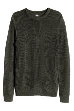 Pattern-knit jumper - Dark khaki green - Men | H&M CN 2