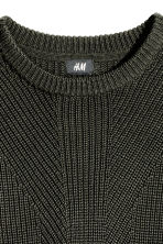 Pattern-knit jumper - Dark khaki green - Men | H&M CN 3