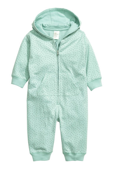 Hooded all-in-one suit - Mint green/Spotted - Kids | H&M CN 1