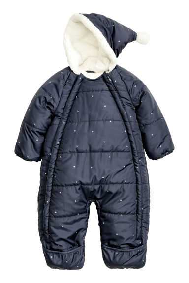 Padded all-in-one suit - Dark blue/Stars - Kids | H&M CN 1