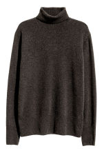 Fine-knit polo-neck jumper - Dark brown marl - Men | H&M CN 2
