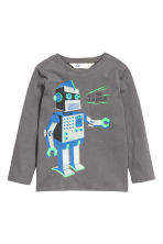 Long-sleeved T-shirt - Dark grey/Robot - Kids | H&M CN 2