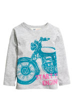 Long-sleeved T-shirt - Lt.grey/Motorcycle - Kids | H&M CN 2