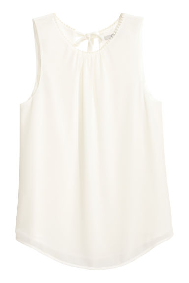 Sleeveless chiffon blouse - White - Ladies | H&M CN 1