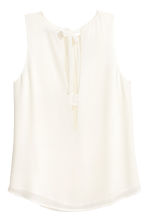 Sleeveless chiffon blouse - White - Ladies | H&M CN 2