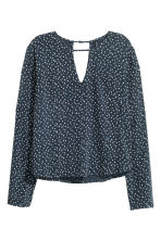 Long-sleeved blouse - Dark blue/Hearts - Ladies | H&M CN 2