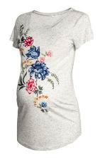 MAMA Jersey top with a motif - Light grey/Floral - Ladies | H&M CN 2