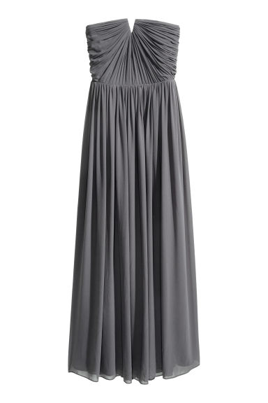 Chiffon maxi dress - Dark grey - Ladies | H&M CN 1