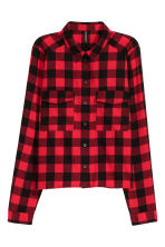 Short flannel shirt - Red/Checked - Ladies | H&M CN 2