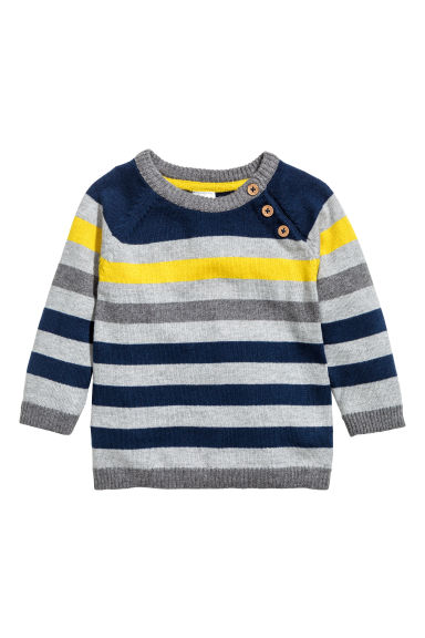 Fine-knit jumper - Grey/Striped - Kids | H&M CN 1