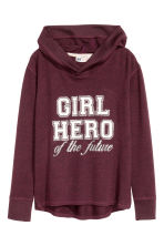 Knitted hooded top  - Burgundy - Kids | H&M CN 2