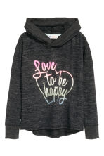 Knitted hooded top  - Black marl - Kids | H&M CN 2