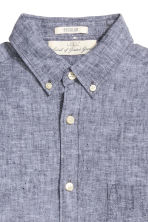 Shirt in a linen blend - Grey marl - Men | H&M CN 3