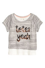 Crop top with sequins - Grey marl - Kids | H&M CN 2
