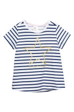 Printed jersey top - Dark blue/Striped - Kids | H&M CN 1