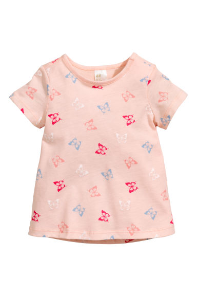 Printed jersey top - Light pink/Butterflies - Kids | H&M CN 1