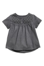 Slub jersey top - Dark grey -  | H&M CN 1