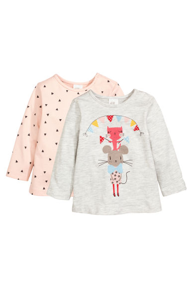 2-pack long-sleeved tops - Powder pink -  | H&M CN 1
