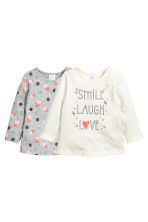 2-pack long-sleeved tops - Grey marl/Spotted - Kids | H&M CN 1
