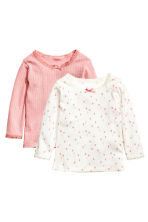 2-pack long-sleeved tops - Light pink - Kids | H&M CN 1