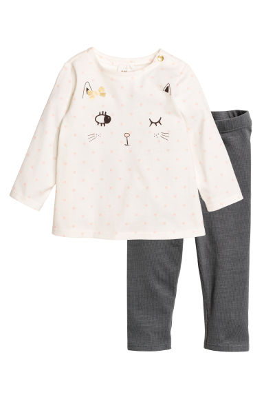 Top and leggings - Natural white/Cat - Kids | H&M CN 1