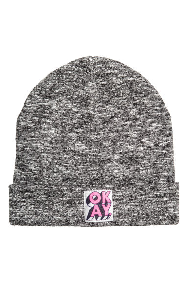 Knitted hat - Black marl - Kids | H&M CN 1