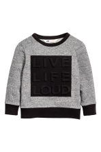 Printed sweatshirt - Black/White marl - Kids | H&M CN 2