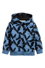 Printed hooded top - Blue/Bats - Kids | H&M CN 2