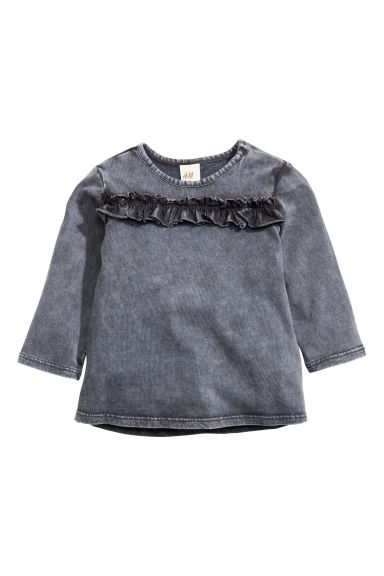 Frilled top - Dark grey -  | H&M CN 1