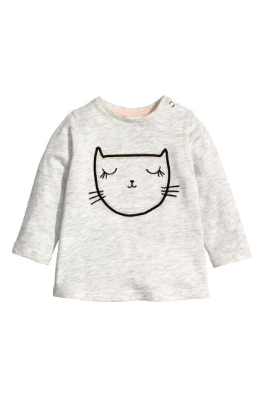Jersey top with a motif - Light grey/Cat  - Kids | H&M CN 1