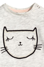 Jersey top with a motif - Light grey/Cat  - Kids | H&M CN 2