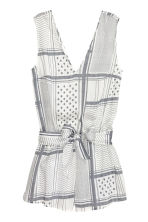 V-neck playsuit - White/Black patterned - Ladies | H&M CN 2
