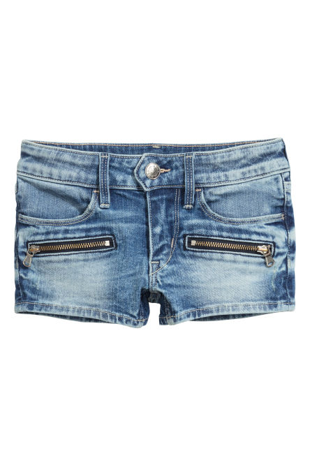 Denim shorts with zips