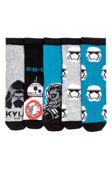 5-pack socks - Black/Star Wars - Kids | H&M CN 1