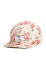 Patterned cotton cap - Light beige/Floral - Ladies | H&M CN 1
