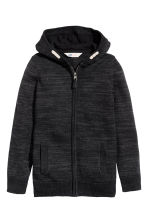 Knitted hooded jacket - Black marl -  | H&M CN 2