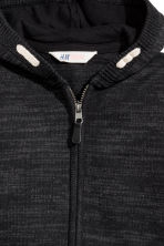 Knitted hooded jacket - Black marl -  | H&M CN 3