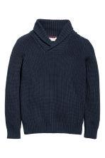 Jumper with a shawl collar - Dark blue -  | H&M CN 2