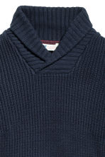Jumper with a shawl collar - Dark blue -  | H&M CN 3