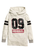 Fine-knit hooded jumper - Light beige marl - Kids | H&M CN 2