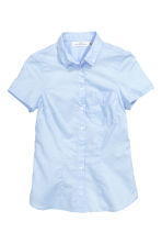 Short-sleeved cotton blouse - Light blue - Ladies | H&M CN 2